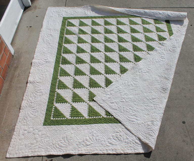 Hand-Crafted Antique Quilt 19th Century Delectable Mountains Quilt For Sale