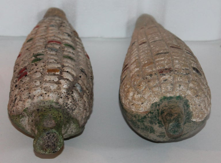 American Folk Art Handmade Terracotta Corn or Pair For Sale