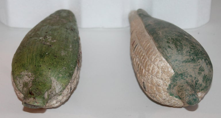 Folk Art Handmade Terracotta Corn or Pair In Distressed Condition For Sale In Los Angeles, CA