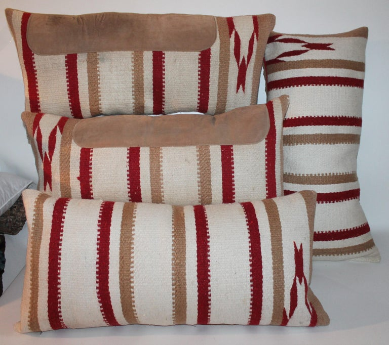20th Century Navajo Indian Weaving Saddle Blanket Pillows, Pair For Sale