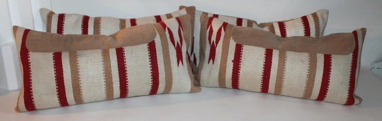 Wool Navajo Indian Weaving Saddle Blanket Pillows, Pair For Sale