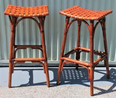 Bamboo Bar Stools W/ Leather Seats - Pair