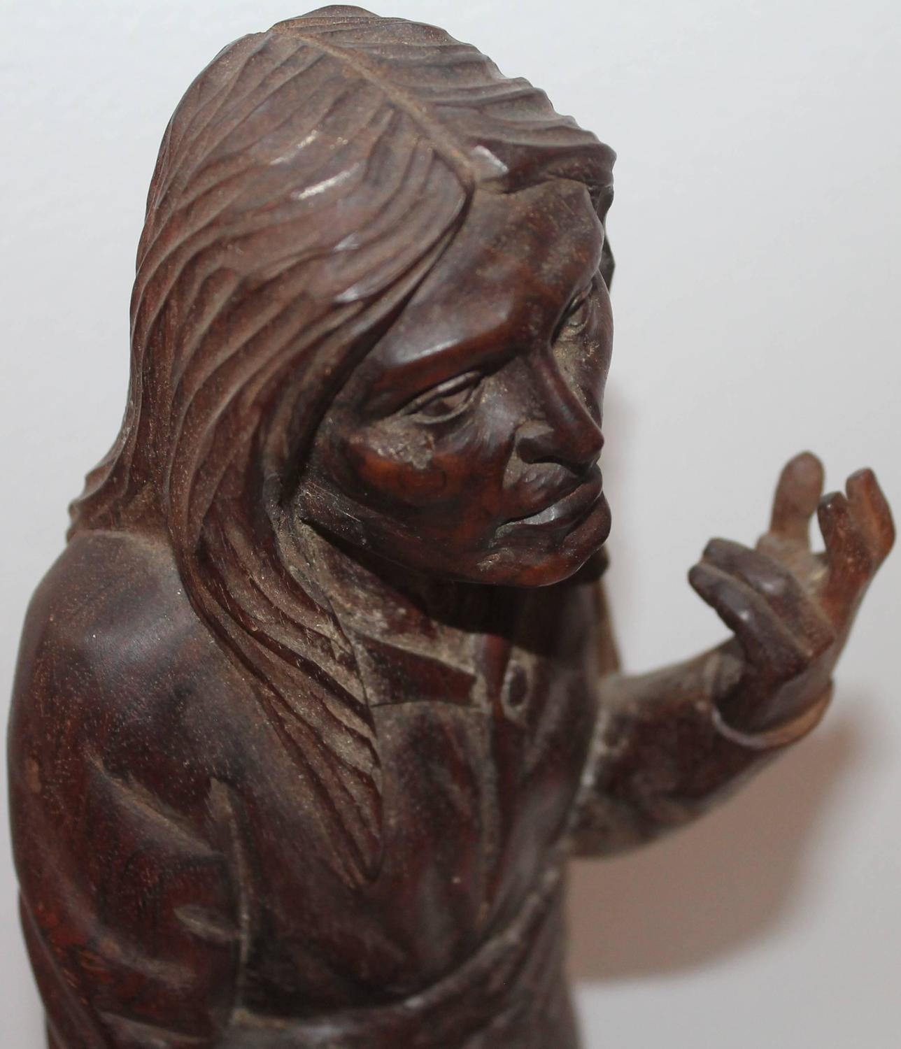 Hand carved american indian girl in amazing condition for