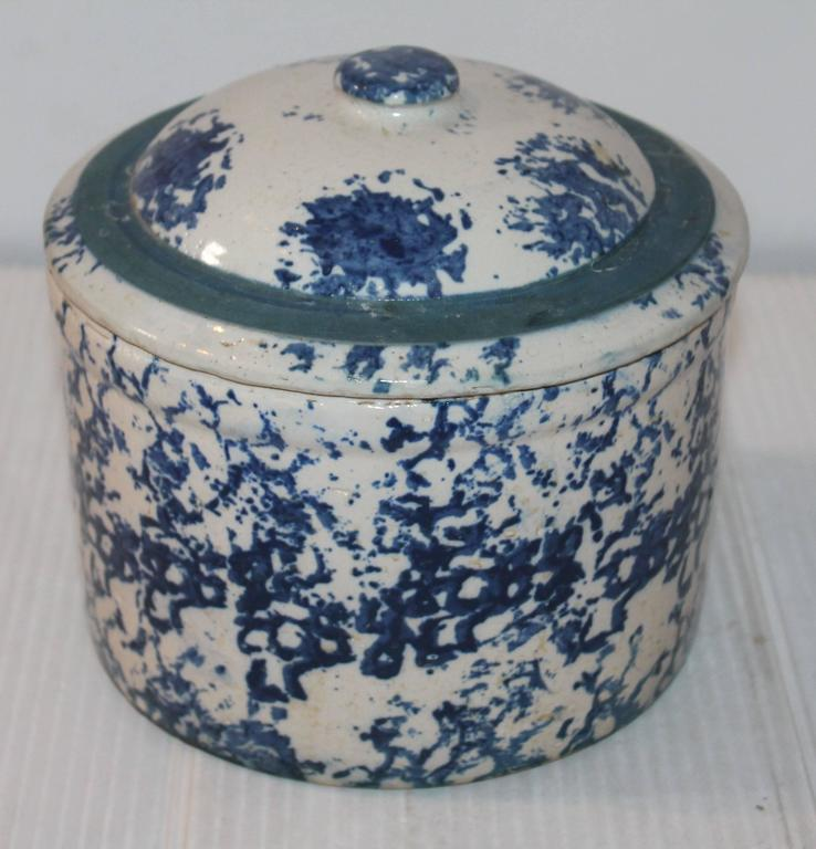 19th century rare sponge ware butter crock or salt crock with lid. The condition is good with minor chips on base. This is a most unusual piece of pottery.