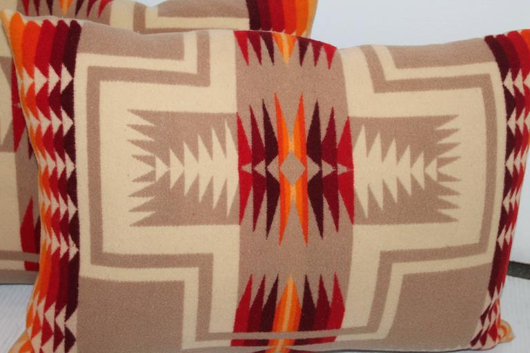 Pair Of Pendleton Indian Design Camp Blanket Pillows At