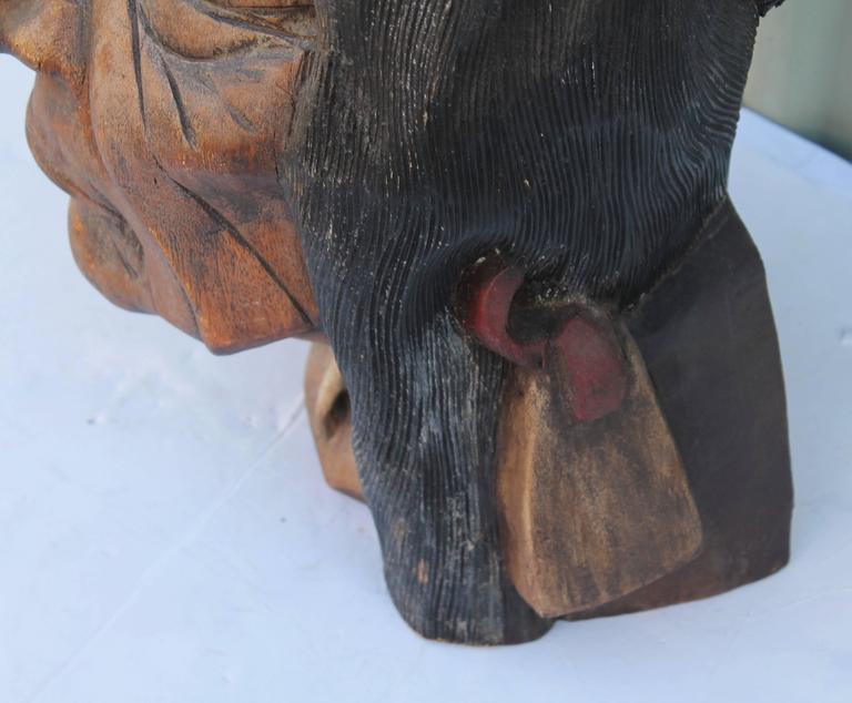 American 19th Century Original Painted Cigar Store Indian Head Carving For Sale