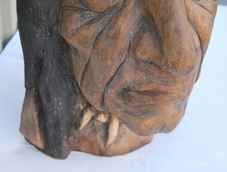 Patinated 19th Century Original Painted Cigar Store Indian Head Carving For Sale