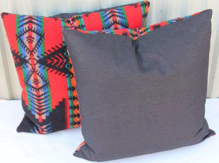 American Pair of Vintage Pendleton Indian Design Blanket Pillows For Sale
