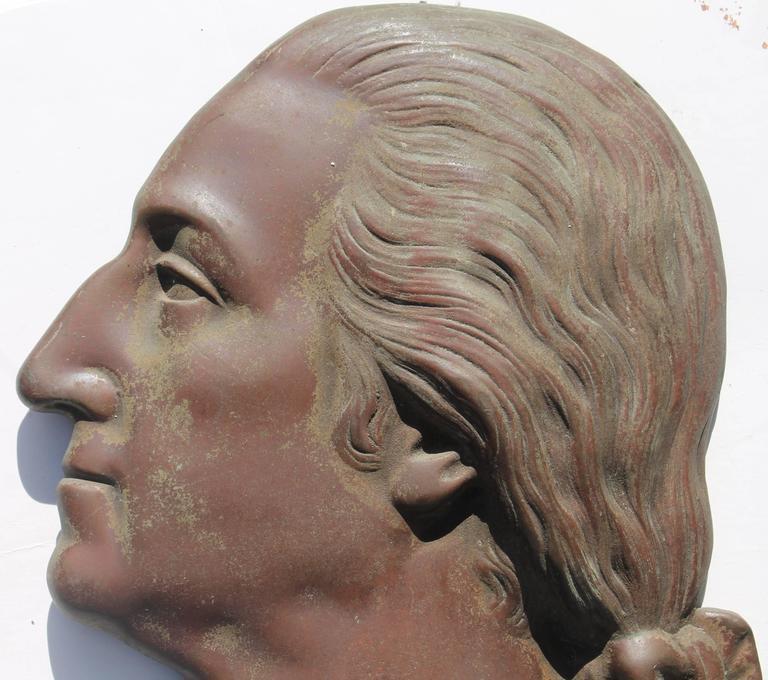 Folk Art 19th Century Bronze Plaque of George Washington For Sale