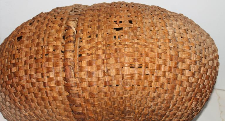 Twig Monumental 19th Century Gathering Buttocks Basket For Sale