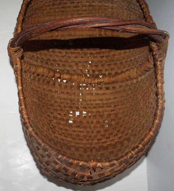 Folk Art Monumental 19th Century Gathering Buttocks Basket For Sale