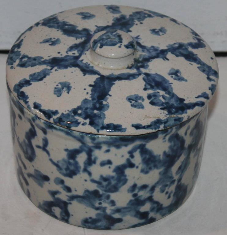 Country 19th Century Rare Spongeware Pottery Butter Crock with Lid For Sale