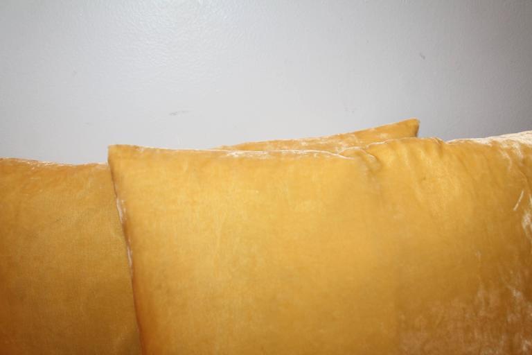Pair of Golden Yellow Velvet Pillows 3