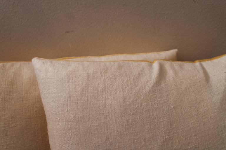 Pair of Golden Yellow Velvet Pillows 5