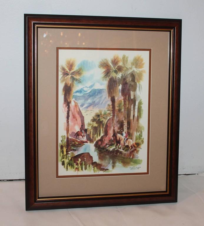 This wonderful watercolor is a scene of people riding horses by the water. It is signed C. Macourlard and marked Southern California. The condition is pristine and they are newly framed.