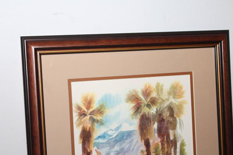 Adirondack Signed C. Macourlard Watercolor of Southern California For Sale