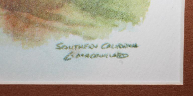 American Signed C. Macourlard Watercolor of Southern California For Sale