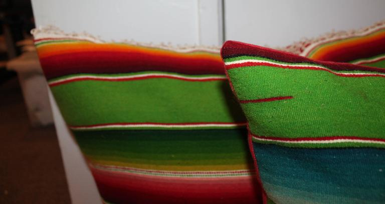 Adirondack Pair of Monumental Serape Bolster Pillows For Sale