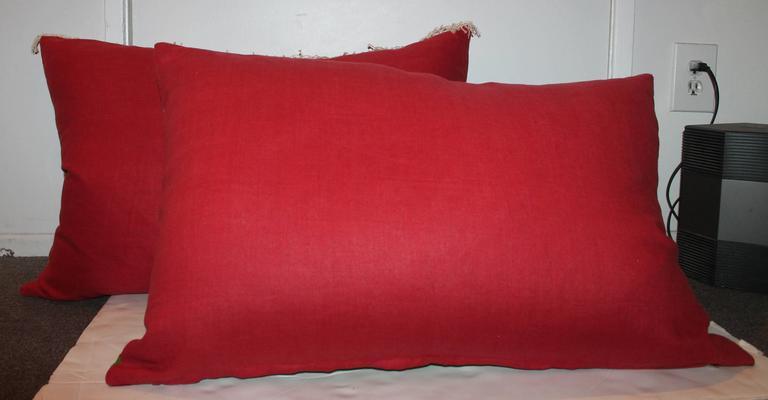 Wool Pair of Monumental Serape Bolster Pillows For Sale