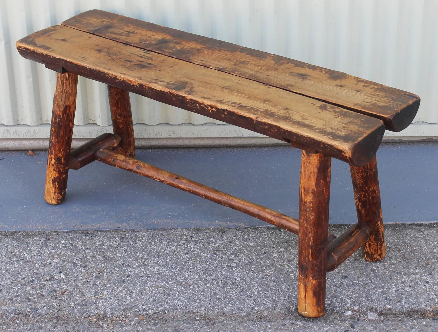 Fantastic Split Log Pine And Hickory Bench At 1stdibs. Full resolution‎  file, nominally Width 1500 Height 1138 pixels, file with #975B34.