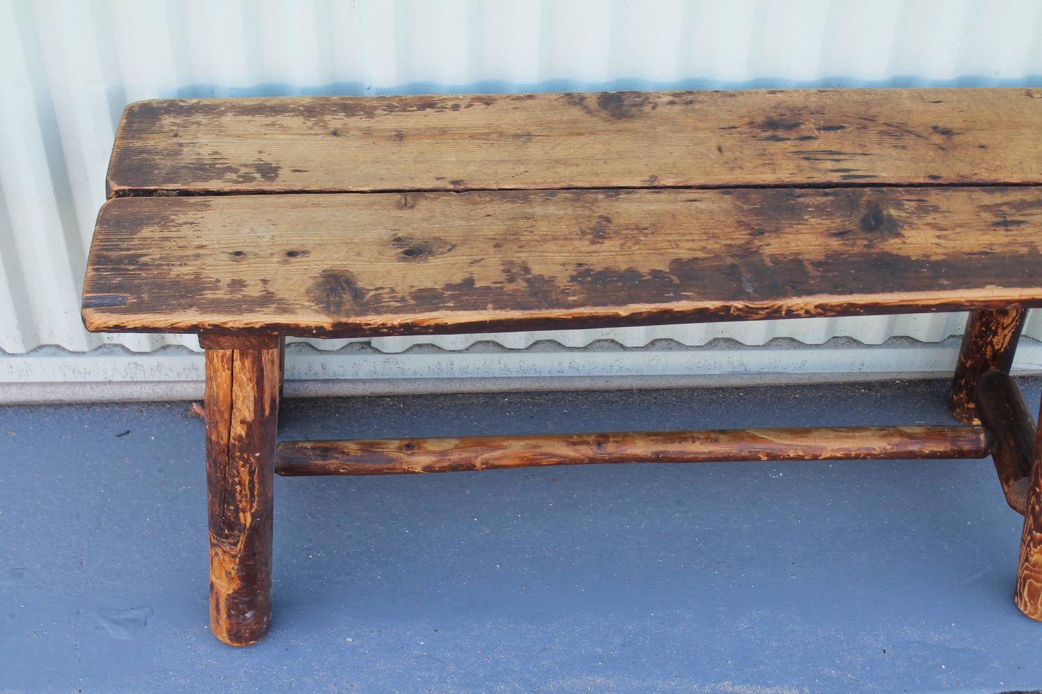 Fantastic Split Log Pine And Hickory Bench At 1stdibs. Full resolution‎  file, nominally Width 1500 Height 1000 pixels, file with #435E88.