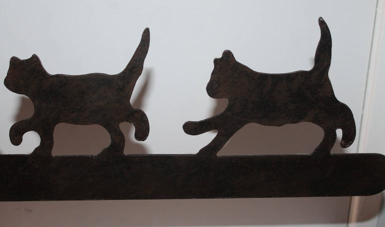 Folk Art Early 20th Century Original Painted Folky Cats Weathervane For Sale