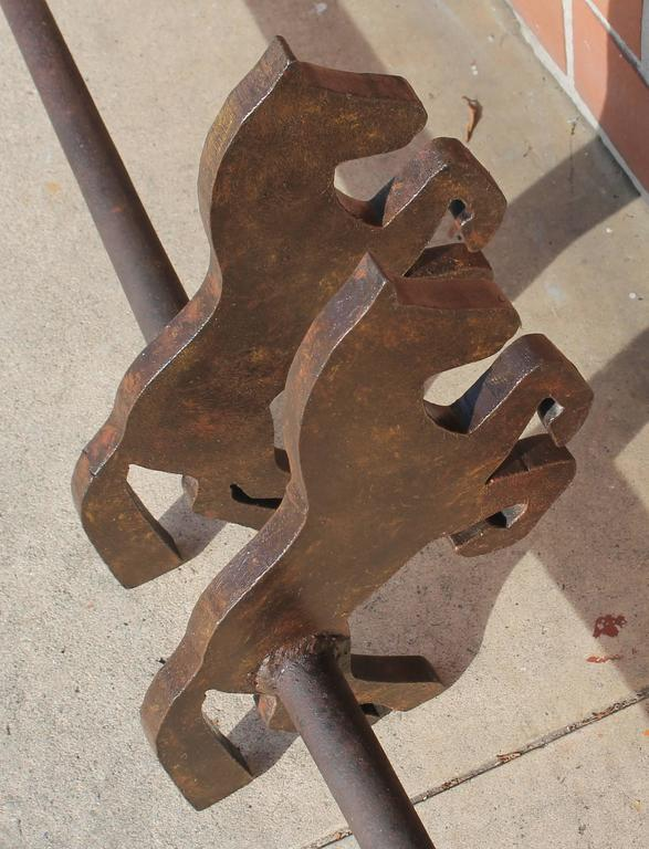 Pair of Handmade Folky Rustic Horses Andirons In Good Condition For Sale In Los Angeles, CA