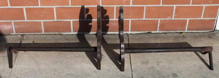20th Century Pair of Handmade Folky Rustic Horses Andirons For Sale