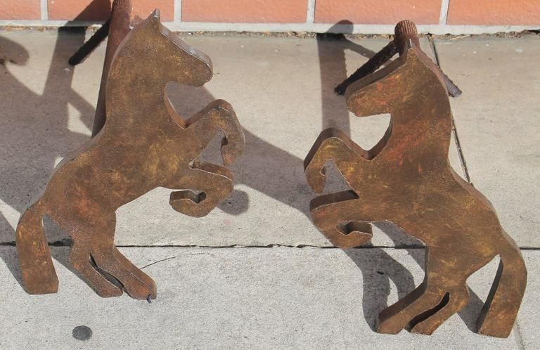 Pair of Handmade Folky Rustic Horses Andirons For Sale 1