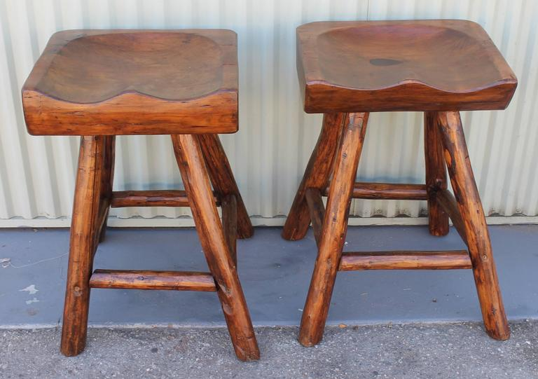 Rustic Hickory By Rittenhouse Plank Seat Bar Stools For