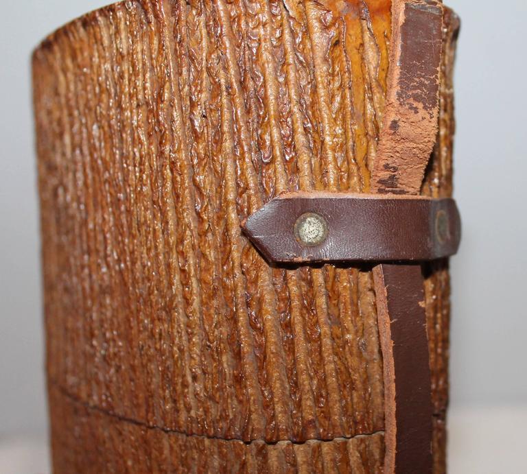 Venezuelan Monumental Cuban Bark Covered Cigar Shoulder Bag For Sale