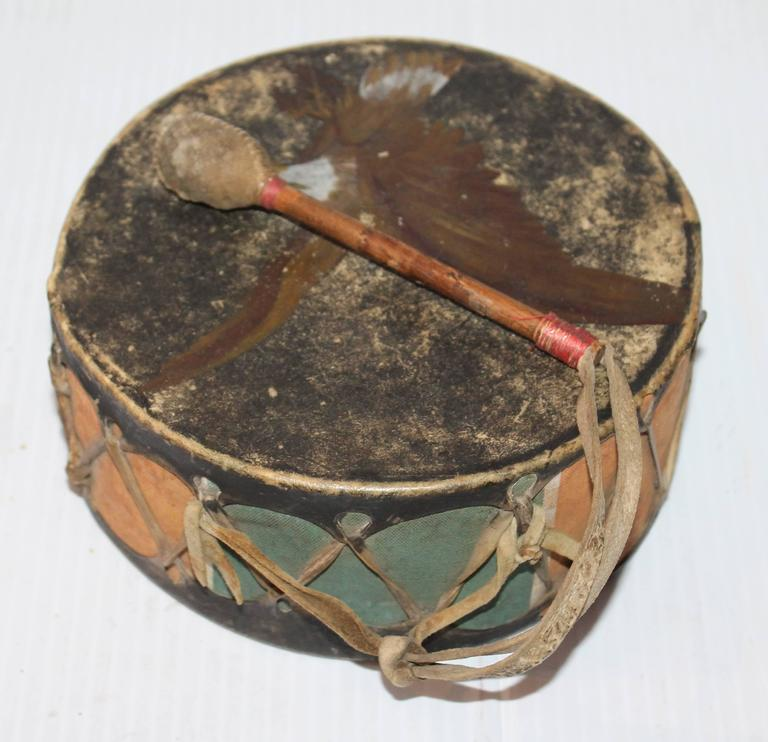 19th Century Pueblo Original Paint Decorated Drum For Sale At 1stdibs