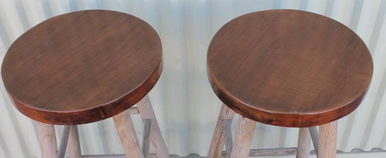 Adirondack Pair of Rustic Original Painted Bar Stools For Sale