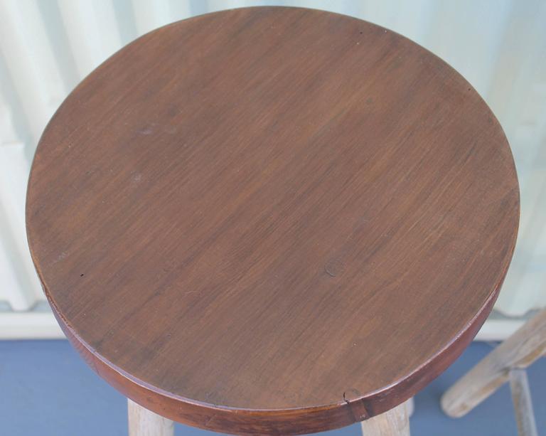 American Pair of Rustic Original Painted Bar Stools For Sale