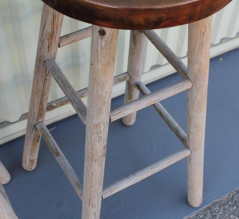 Hand-Crafted Pair of Rustic Original Painted Bar Stools For Sale