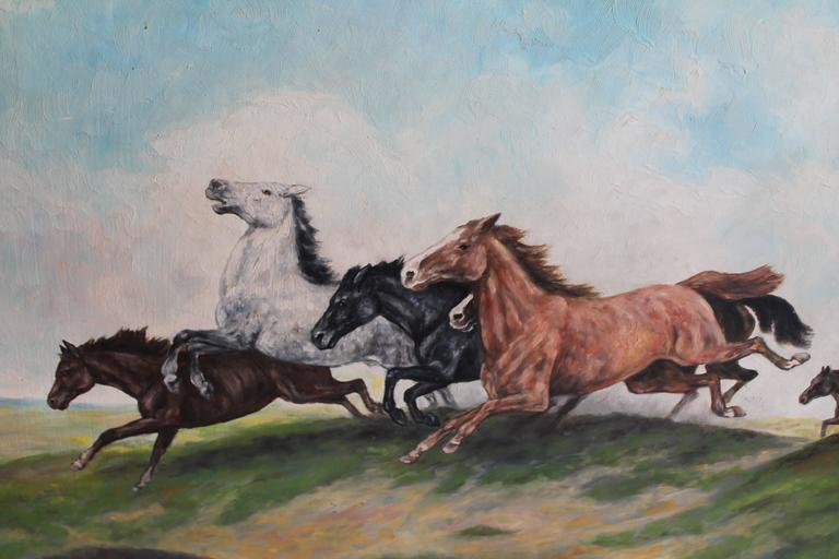 Adirondack Signed Oil Painting of Horses on Board For Sale