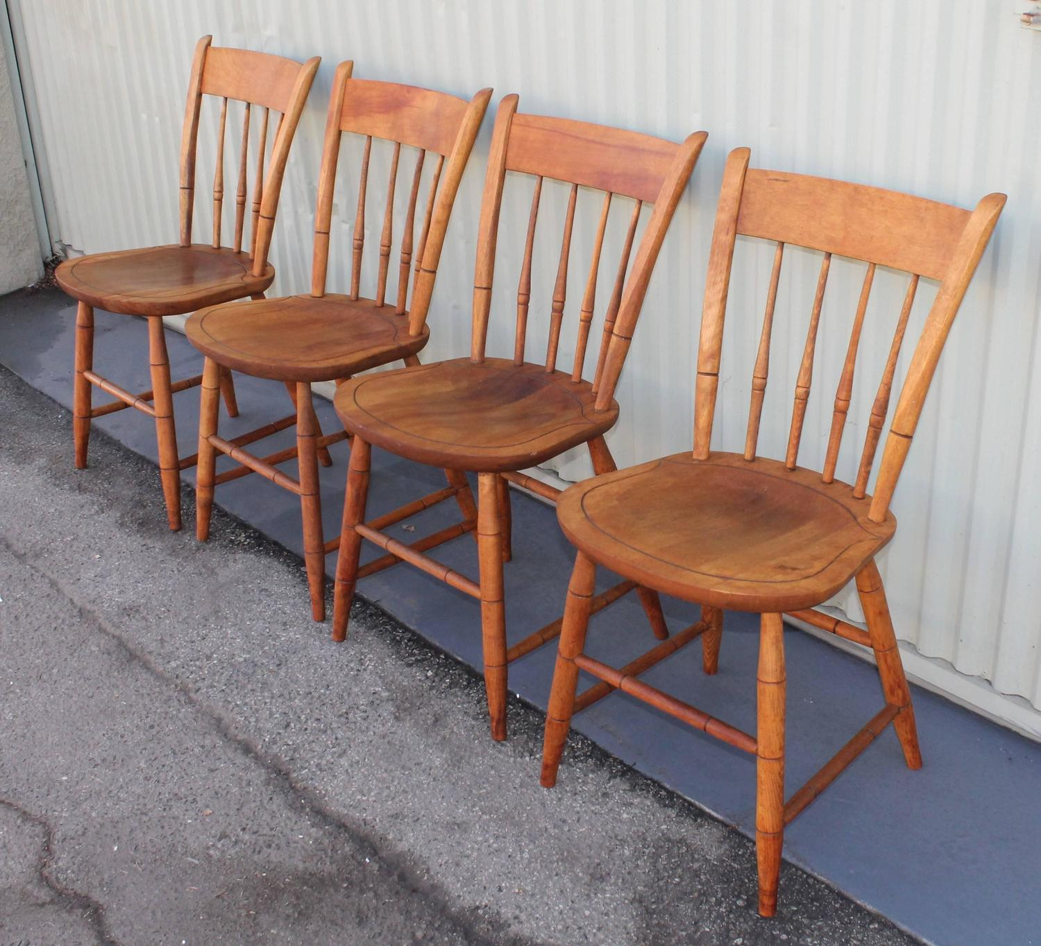 Signed Nichols And Stone Thumb Back Windsor Chairs Set Of Four At 1stdibs