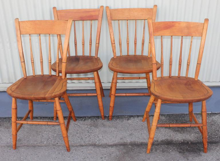 This Smooth Set Of S Maple Thumb Back Windsor Chairs Are Signed On Seats  Nichols U0026