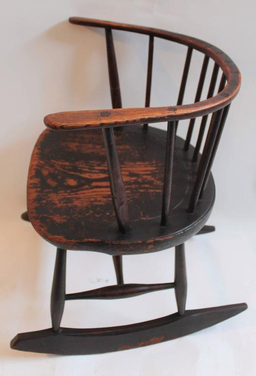 Red Rocking Chair Folk ~ Rare th century low back original red painted windsor