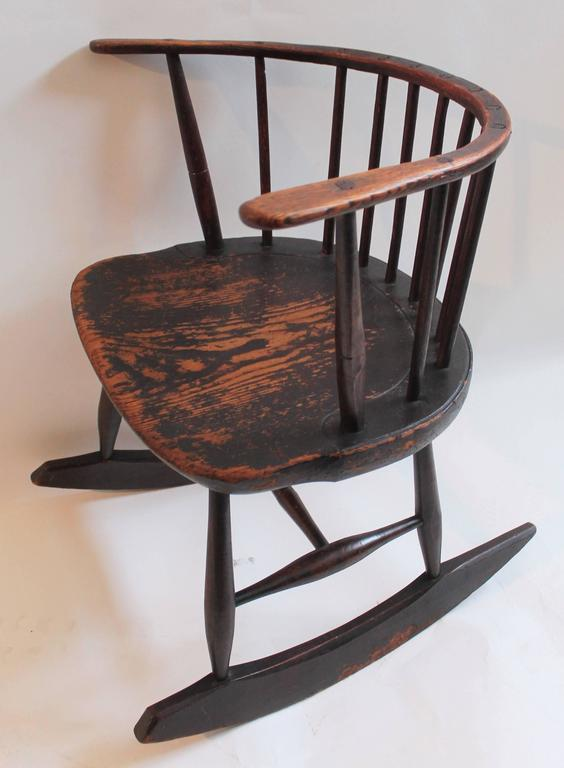 Rare 18th Century Low Back Original Red Painted Windsor Rocking Chair 2