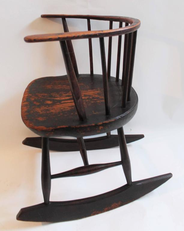Rare 18th Century Low Back Original Red Painted Windsor Rocking Chair 3