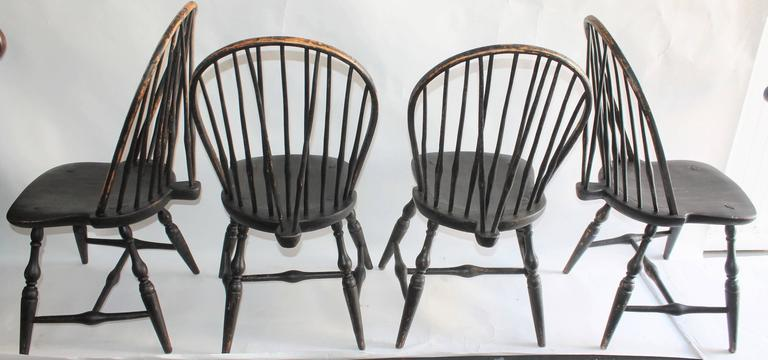 Beau This Amazing Handmade Set Of Four 18th Century Brace Back Windsor Chairs  Are In Great Condition