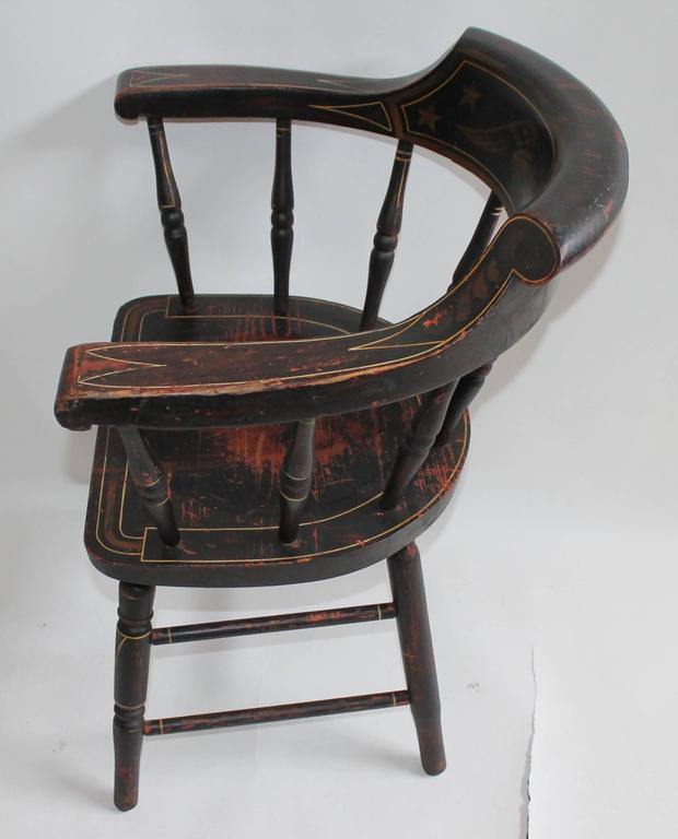 19th Century Original Paint Decorated Captains Chair With