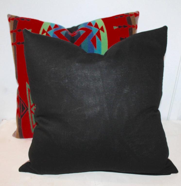 Adirondack Pair of Indian Design Pendleton Camp Blanket Pillows For Sale