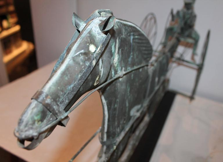 Patinated Early 20th Century Mounted Horse and Rider Weathervane For Sale