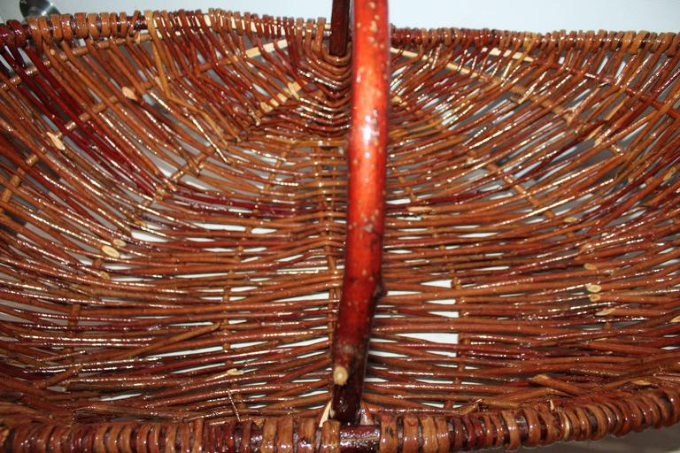 American Monumental Hickory Gathering Basket For Sale