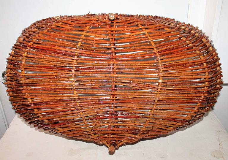 Hand-Woven Monumental Hickory Gathering Basket For Sale