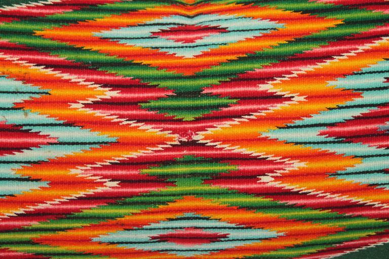 Adirondack Monumental Mexican Serape Weaving Bolster Pillow For Sale