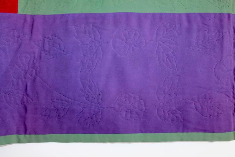 Folk Art Amish Lancaster Co., Pennsylvania Diamond in a Square Quilt For Sale