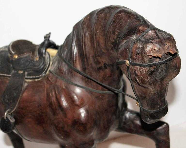 Monumental leather full body horse sculpture for sale at